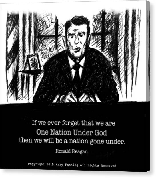 Libertarian Canvas Print - One Nation Under God by Mary Fanning