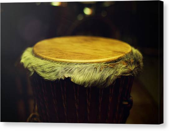 Djembe Canvas Print - Original African Djembe Drum With Leather Lamina With Beautiful  by Jozef Klopacka