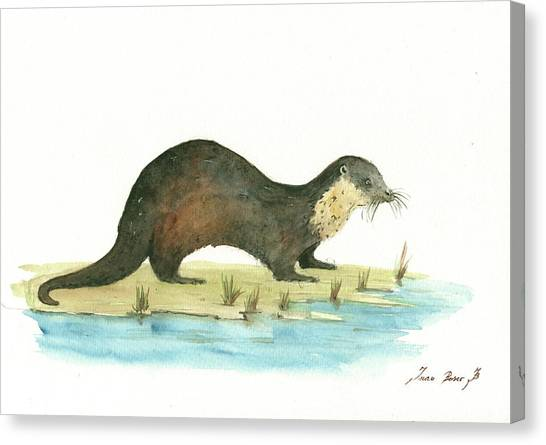 Otters Canvas Print - Otter by Juan Bosco