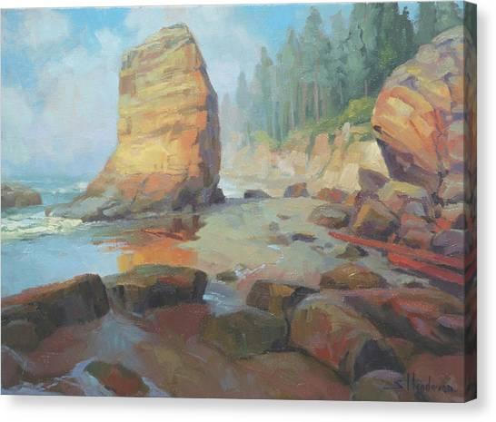 Otters Canvas Print - Otter Rock Beach by Steve Henderson