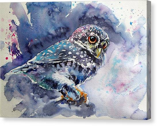 Owls Canvas Print - Owl At Night by Kovacs Anna Brigitta