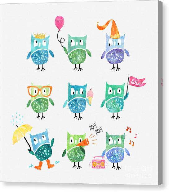 Owls Canvas Print - Owls Are A Hoot by Natalie Kinnear