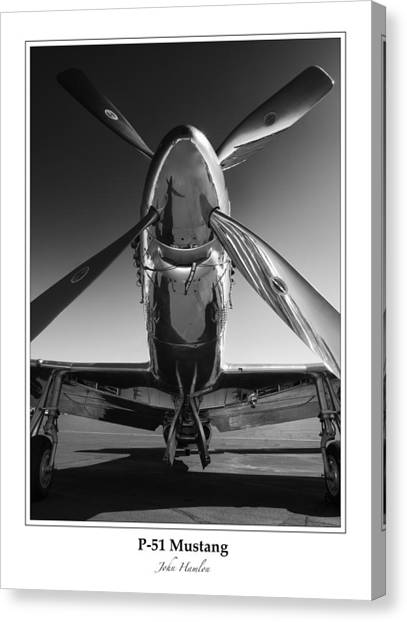 Prop Planes Canvas Print - P-51 Mustang - Bordered by John Hamlon