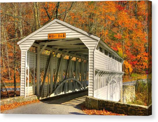 Pa Country Roads - Knox Covered Bridge Over Valley Creek No. 2a - Valley Forge Park Chester County Canvas Print