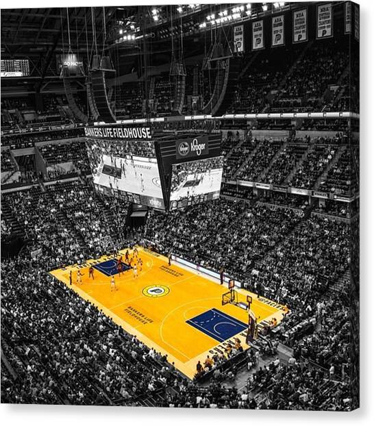 Indiana Pacers Canvas Print - #pacers #pacersgamenight #pacersvsspurs by David Haskett