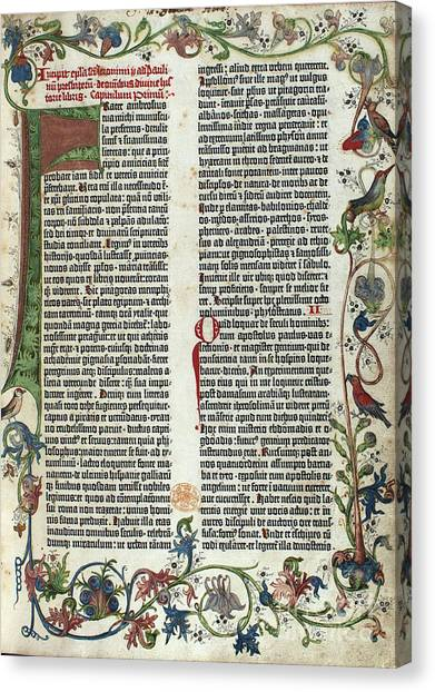 Notable Canvas Print - Page Of The Gutenberg Bible, 1455 by Photo Researchers