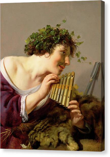 Aspect Canvas Print - Pan Playing His Pipes by Paulus Moreelse