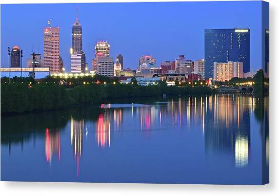 Indiana Pacers Canvas Print - Panoramic Indianapolis by Frozen in Time Fine Art Photography