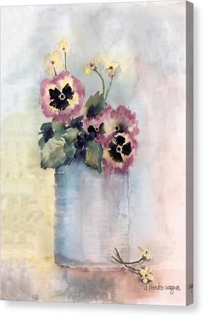 Pansies Canvas Print - Pansies In A Can by Arline Wagner