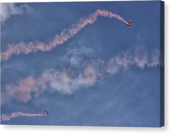 Skydiving Canvas Print - Parachuting In by Martin Newman