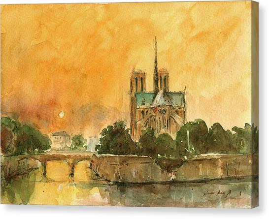 Notre Dame University Canvas Print - Paris Notre Dame by Juan  Bosco