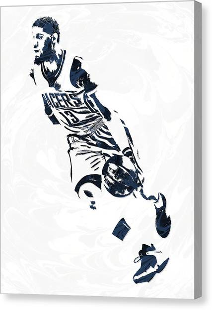 Indiana Pacers Canvas Print - Paul George Indiana Pacers Pixel Art 6 by Joe Hamilton