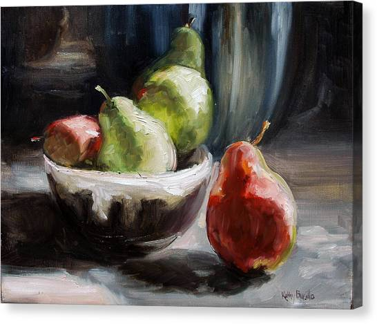 Pears In Grandma's Bowl Canvas Print by Kathy Busillo