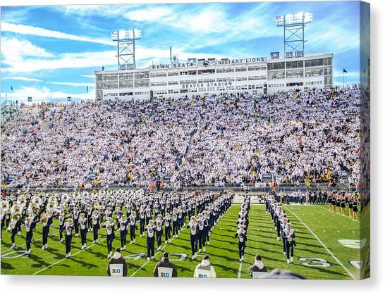 Pennsylvania State University Canvas Print - Penn State Blue Band Pregame - Beaver Stadium by Michael Guinard