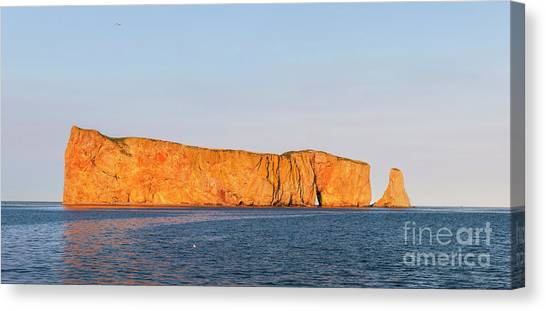 Canvas Print featuring the photograph Perce Rock At Sunset by Elena Elisseeva