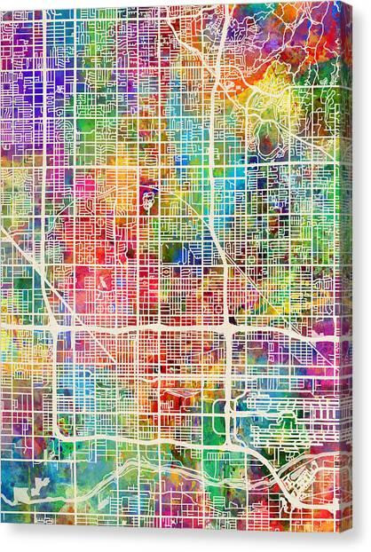 Phoenix Canvas Print - Phoenix Arizona City Map by Michael Tompsett