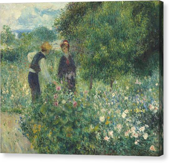 Pierre-auguste Renoir Canvas Print - Picking Flowers by Pierre Auguste Renoir