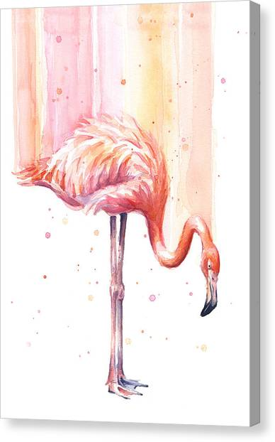 Flamingos Canvas Print - Pink Flamingo - Facing Right by Olga Shvartsur