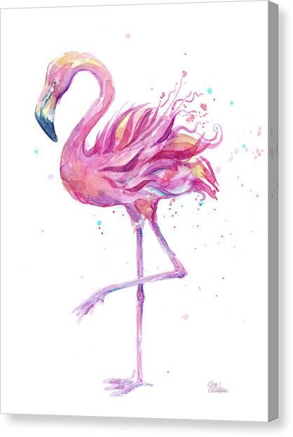 Tropical Birds Canvas Print - Pink Flamingo Watercolor by Olga Shvartsur
