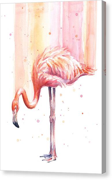 Flamingos Canvas Print - Pink Flamingo Watercolor Rain by Olga Shvartsur
