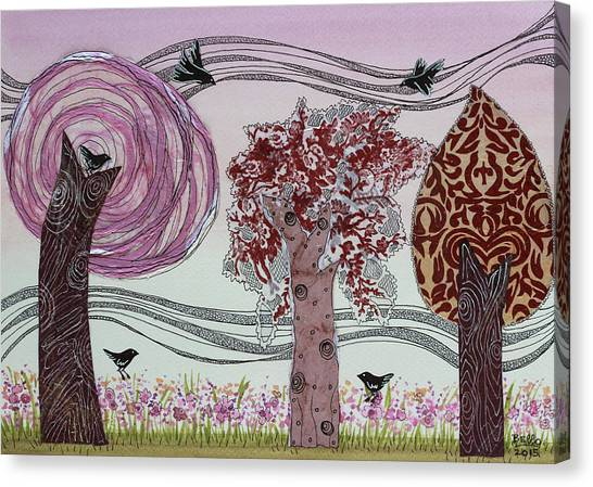 Collage Art For Sale Canvas Print - Pink Grove by Graciela Bello