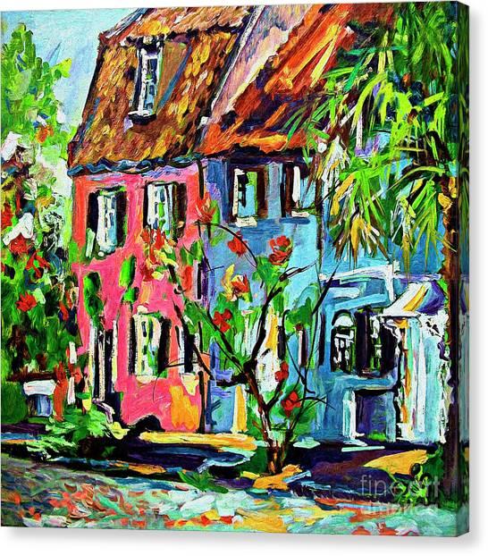 Pink House On Chalmers Street Charleston South Carolina Canvas Print