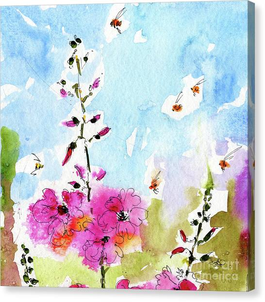 Pink Lavatera Floral Painting 1  Canvas Print