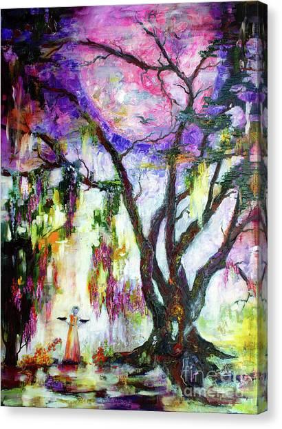 Pink Moon In The Garden Of Good And Evil Savannah Bird Girl Canvas Print