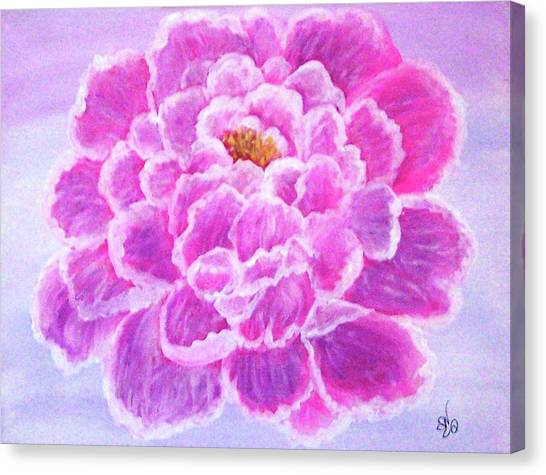 Canvas Print featuring the painting Pink Peony by Sonya Nancy Capling-Bacle