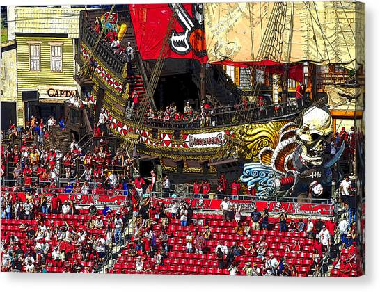 Tampa Bay Buccaneers Canvas Print - Pirate Football by David Lee Thompson