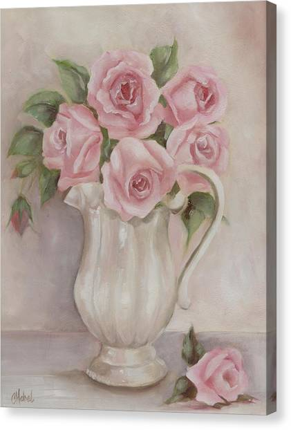 Pitcher Of Roses Canvas Print