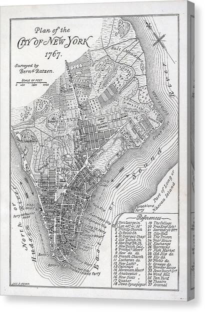 Map Canvas Print - Plan Of The City Of New York by American School