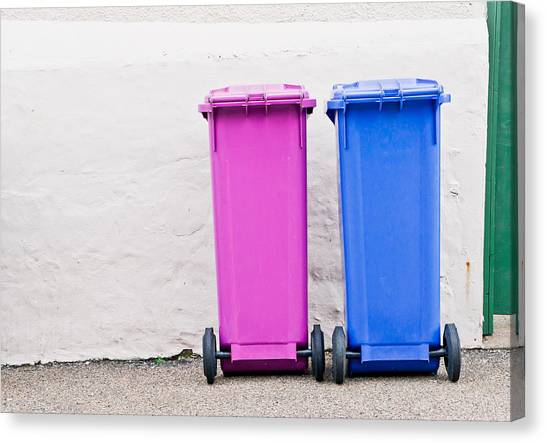 Rubbish Bin Canvas Print - Plastic Bins by Tom Gowanlock