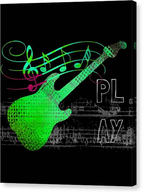 Canvas Print featuring the digital art Play 3 by Guitar Wacky