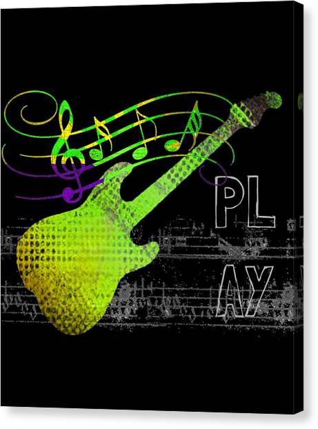 Canvas Print featuring the digital art Play 1 by Guitar Wacky