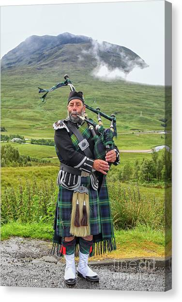 Bagpipes Canvas Print - Playing Bagpiper by Patricia Hofmeester