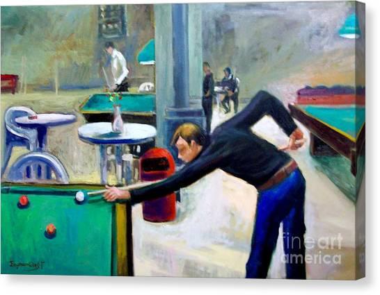 Playing Billiard Canvas Print by George Siaba