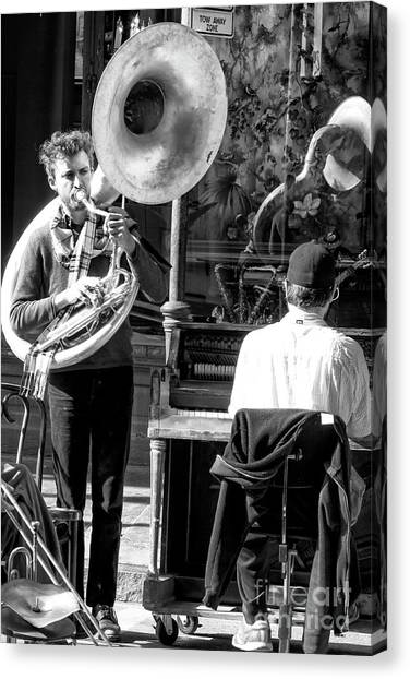 Playing Jazz In New Orleans Canvas Print by John Rizzuto