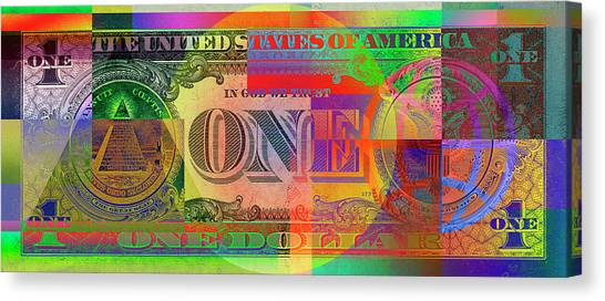 Still Life Canvas Print - Pop-art Colorized One U. S. Dollar Bill Reverse by Serge Averbukh