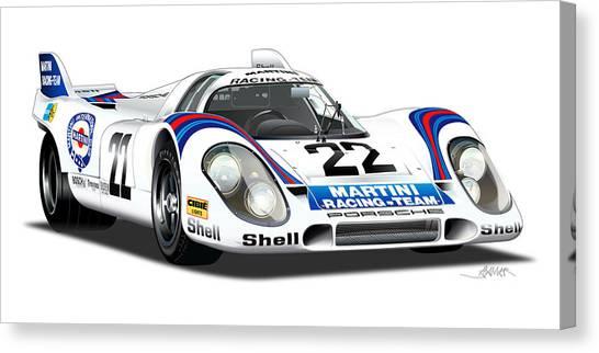 Martini Canvas Print - Porsche 917 Illustration by Alain Jamar