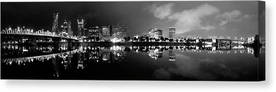 Portland Skyline Black And White Canvas Print