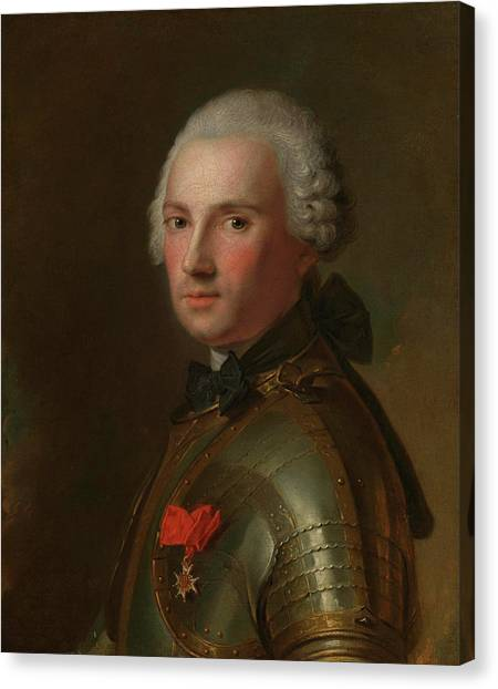 Protective Clothing Canvas Print - Portrait Of A Man In Armour by Jean-Marc Nattier
