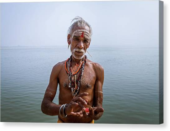Portrait Of A Sadhu, Varanasi, India Canvas Print