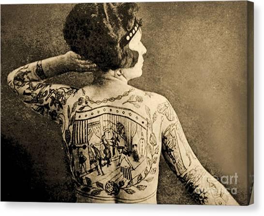 Freak Canvas Print - Portrait Of A Tattooed Woman by English School