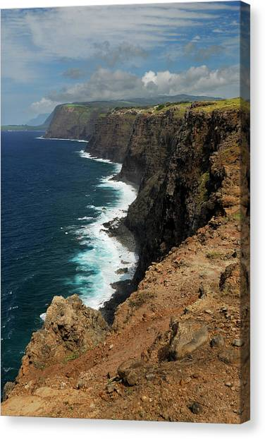 Kalaupapa Cliffs Canvas Print - Portrait Of North Coast Molokai Highest Sea Cliffs In The World by Reimar Gaertner