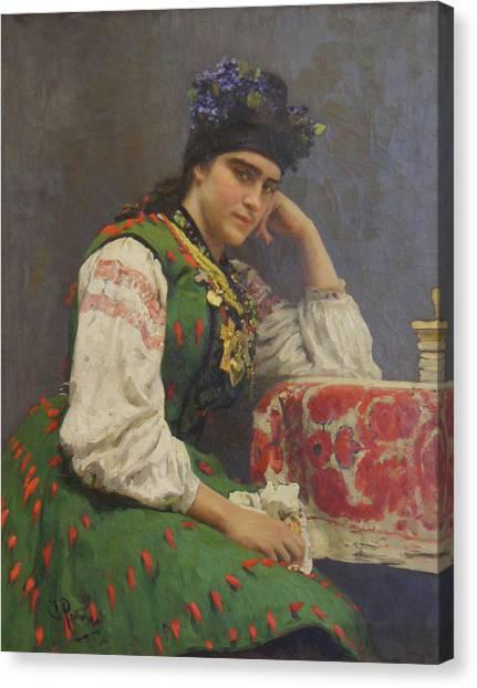 Portrait Of Sophia Dragomirova Canvas Print by Ilya Repin