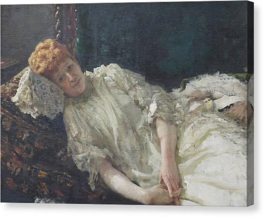Portrait Of The Pianist Louisa Mercy D'argenteau Canvas Print by Ilya Repin