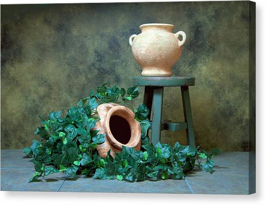 Stools Canvas Print - Pottery With Ivy I by Tom Mc Nemar