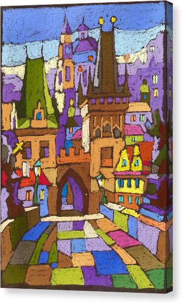Pastel Canvas Print - Prague Charles Bridge 01 by Yuriy Shevchuk
