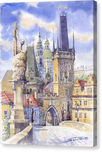Watercolour Canvas Print - Prague Charles Bridge by Yuriy Shevchuk